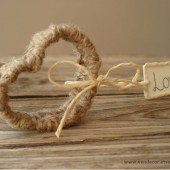 Twine wrap heart with Love tag- set of 10