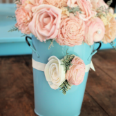 blush wedding corsage