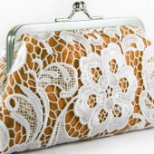 Schiffli lace Clutch Bag in Orange and White
