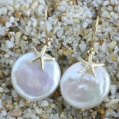 Little Starfish on Large Coin Pearls, Bridal Earrings on 14k Gold Filled