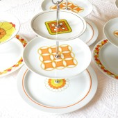 Orange and Yellow Mod Midcentury Cupcake Stand