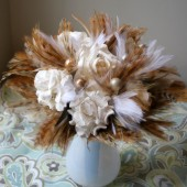 Brown and White Feather and Flower Bouquet