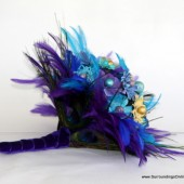 Aqua, Purple and Black Feather Bouquet