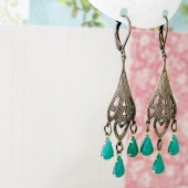 Green Jade Chandelier Earrings