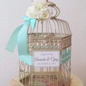 Aqua Wedding Birdcage Card Holder with Lots of Pearls