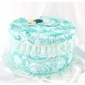Wedding Money Card Box in Mint Ivory and Teal with a Beautiful Lace Handmade Flowers