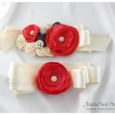 Set of 2 Bridal Sash and Bridesmaid Belt in Ivory, Nude, Coral, Pewter with Brooches, Glass Beads and Handmade Flowers