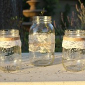 Lace and Twine Mason Jars