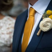 Boutonniere- Luxe Collection, Ivory Sola Flower Yellow Billy Button Groom Wedding, Buttonhole, Groomsmen, Wedding Flowers