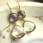 Crystal Amethyst Earrings Gold