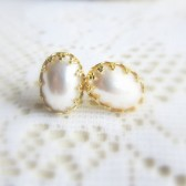 Pearl Stud Earrings 18K Gold Plated
