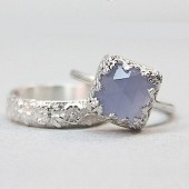 Vintage Style Chalcedony Wedding Ring Set