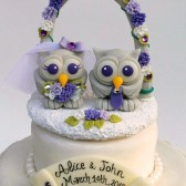 Owl love bird cake topper, wedding cake topper, love birds, owl cake topper, custom cake topper, wedding floral arch