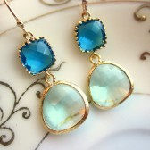 Prasiolite Blue Earrings Gold