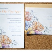 Vintage Etched Watercolor Flower Wedding Invitation