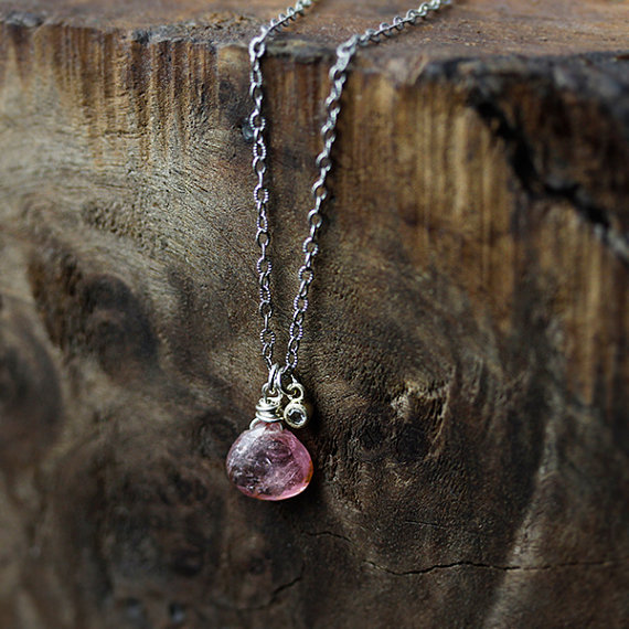maid of honor gift - pink chalcedony necklace
