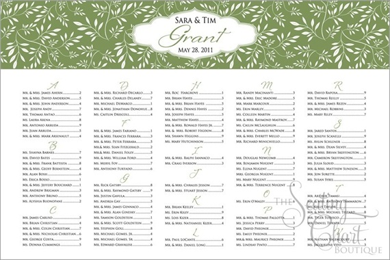 seating chart for wedding nature