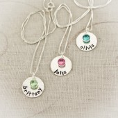 Personalized Hand Stamped Disc Birthstone Necklace