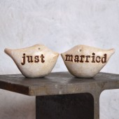 "Wedding cake topper ...""just married"""