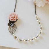 Dusky Pink Sakura Flower Brass Butterfly Brass Leaf Ivory Cream Pearls Necklace. Vintage Nature Inspired Bridal Necklace, Bridesmaid Gift