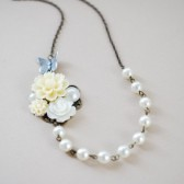 Ivory Flowers Pearls Collage Bridal Necklace. Ivory Flowers, Silver Butterfly, Ivory Pearls Necklace. Wedding Necklace, Bridal Necklace