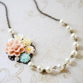 Pink Ivory Blue Flowers Cream Pearls Collage Necklace. Cluster Flowers and Pearls Necklace. Wedding Bridal Necklace, Statement Necklac