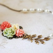Flower Garden Collage Necklace. Orange Pink Green Ivory Flowers, Swallow Bird, Leaf, Cream Ivory Pearl Necklace. Wedding Bridal Necklace