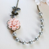 Soft Pink Flower Antique Brass Orchids Titanium Grey Pearls Necklace. Beaded Grey Gray Pearls Necklace. Vintage Style, Nature Inspired