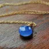 Something Blue; Periwinkle Chalcedony Necklace in 14k gold or sterling silver