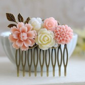 Blush Pink Ivory Flower Hair Comb. Floral Collage Hair Comb