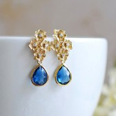 Gold Flowers Cubic Zirconia Montana Blue Glass Stones Post Earrings. 925 Sterling Silver Post, Bridal Earrings, Wedding Bridesmaid Gift