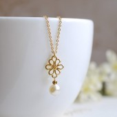Bridal Necklace. Gold Flower Pendant and Swarovski Cream Pearl Necklace. Wedding Jewelry, Bridesmaid Necklace, Maid of Honor Gift