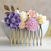 Purple Ivory Pink Flower Collage Hair Comb