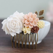 White Ivory Dusty Pink Brown Flowers Brass Leaf Collage Hair Comb