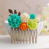 Teal Blue Flower, Orange Rose,Chartreuse Green Ivory Flowers Hair Comb