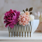 Plum Violet Rose Dusky Pink Ivory Flower Wedding Bridal Hair Comb