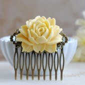 Buttercup Cream Yellow Rose Flower Hair Comb