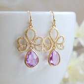 Matte Gold Textured Swirly Filigree Lavender Glass Drop Earrings. Gold Framed Faceted Lavender Teardrop Jewel Earrings. Bridesmaid Earrings