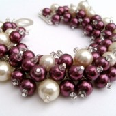 Plum and Ivory, Cluster Pearl Bracelet, Bridal Jewelry, Wedding, Pearl Bridesmaid Bracelet, Pearl Bracelet, Pearl Jewelry by Kim Smith
