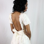 Open Back Wedding Dress with Fair Trade Silk, Sleeves, and Lace