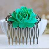 Large Green Rose Flower Hair Comb