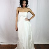 Strapless Wedding Dress with Fair Trade Silk, Keyhole Back, and Hydrangeas