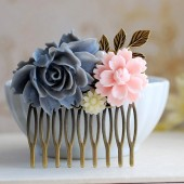Grey Rose Pink Chrysanthemum Ivory Daisy Flower Collage Hair Comb