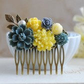Grey Yellow Flowers Hair Comb. Wedding Bridal Hair Comb, Bridesmaid Hair Comb, Grey Yellow Wedding Accessory, Floral Collage Comb