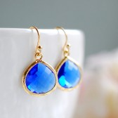 Large Cobalt Blue Glass Drop Earrings. Gold Framed Faceted Blue Teardrop Glass Dangle Earrings. Bridesmaid Earrings, Anniversary Gift
