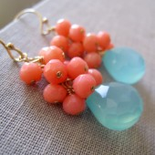 coral and aqua blue earrings