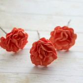 Bright Orange Rose Flower Hair Pins