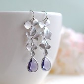 Silver Orchid Flowers Trio Purple Tanzanite Teardrop Glass Earrings. Wedding Jewelry, Bridal Earrings, Bridesmaid Gift Earrings