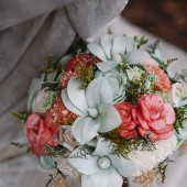 Handmade Alternative Wedding Bouquet - Mint Coral Bridal Bridesmaid Bouquet, Natural Bouquet, Rustic Bouquet, Keepsake Bouquet
