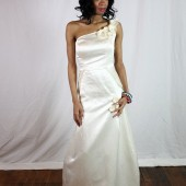 Hemp silk wedding dress - fit and flare with a peplum
